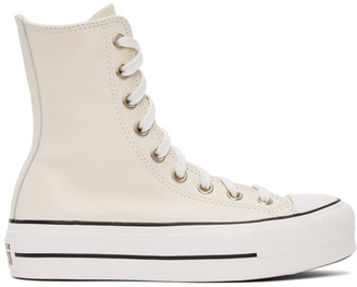 Converse Off-White Leather Chuck Lift High Sneakers