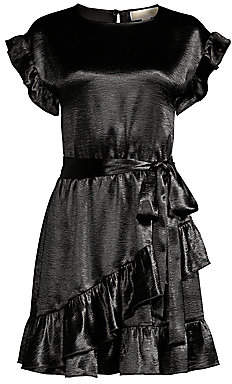MICHAEL Michael Kors Women's Ruffle Satin Wrap Dress