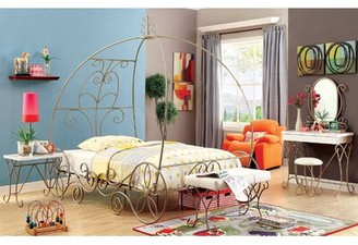 Hiawassee Canopy Bed Zoomie Kids Size: Twin, Bed Frame Color: Gold