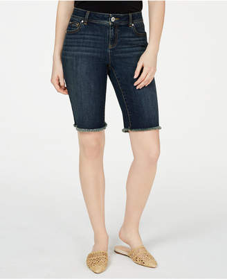 INC International Concepts I.n.c Frayed-Hem Denim Bermuda Shorts