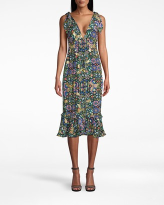 Nicole Miller Mosaic Lurex Smocked Tie Shoulder Dress