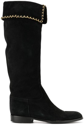 Chanel Pre Owned Chain Trim Boots