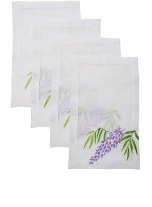 ATELIER HOURIA TAZI Set Of 4 Wisteria Flower Cocktail Napkin
