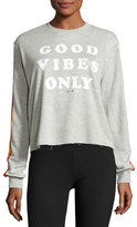 Spiritual Gangster Good Vibes Only Striped Sweatshirt, Gray