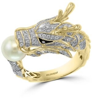 Effy Cultured Freshwater Pearl (7mm) & Diamond (5/8 ct. t.w.) Dragon Ring in 14k Gold