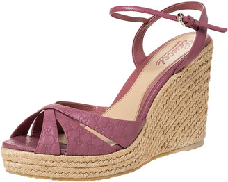 Gucci Pink Guccissima Leather Espadrille Wedge Platform Ankle Strap Sandals Size 40