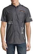Ecko Unlimited Unltd Short Sleeve Patchwork Button-Front Shirt