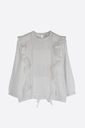 Designers Society - White Lace Ruffle Blouse - M