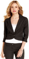 Amy Byer Juniors Blazer, Three-Quarter Sleeve Cropped Pinstripe
