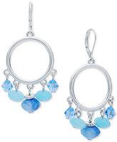 Nine West Silver-Tone Blue Bead Orbital Drop Earrings