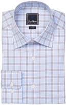 David Donahue Plaid Trim Fit Dress Shirt