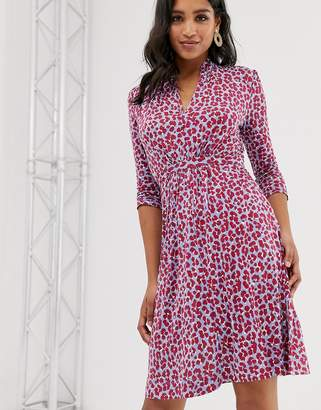 French Connection Animal Print Tie Waist Dress-Red
