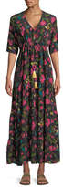 Figue Kalila Floral Silk Half-Sleeve Maxi Dress