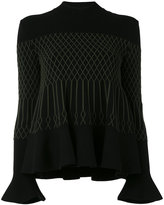 Fendi frill-hem knitted top - women - Polyester/Viscose - 40
