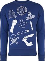 Anglomania Blue News Sweater Logo Mix Size L