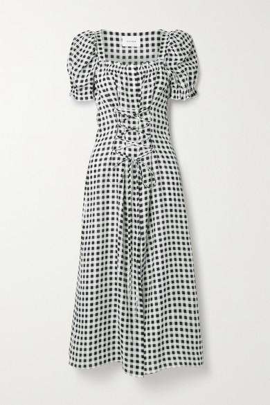 Sleeper Marquise Lace-up Gingham Linen Midi Dress - Black
