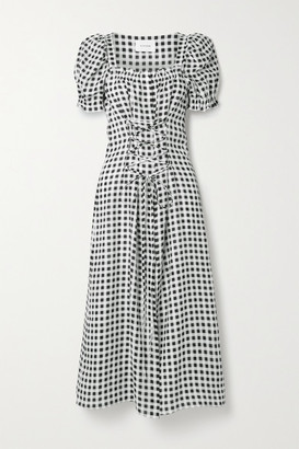 Sleeper Marquise Lace-up Gingham Linen Midi Dress - Black