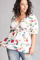 Forever 21 FOREVER 21+ Plus Size Satin Floral Top