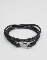 Seven London Leather Wrap Bracelet In Black