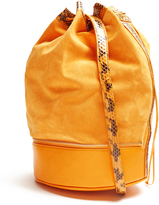 F.E.V. BY FRANCESCA E. VERSACE Almond self-stowing suede bucket bag