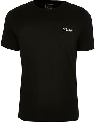 River Island Big and Tall Prolific black slim fit T-shirt