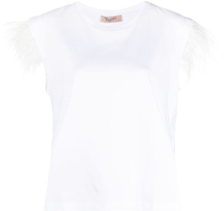 Twin-Set feather details T-shirt