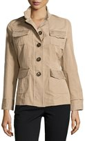 Jane Post Button-Front Raw Edge Jacket