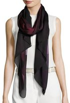 Burberry Ombre Washed Check Silk Scarf, Plum
