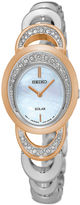 Seiko Womens Crystal-Accent Two-Tone Oval Mother-of-Pearl Solar Bracelet Watch SUP306