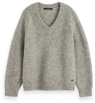 Maison Scotch Light Grey Wool Blend Chunky Knit Jumper - small
