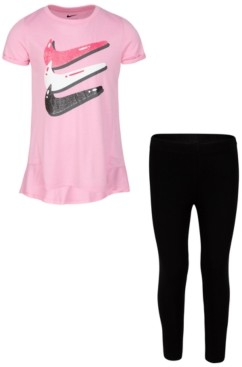 Nike Little Girls 2-Pc. Triple Swoosh T-Shirt & Bubble Leggings Set