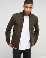 Asos Jersey Track Jacket In Khaki With Contrast Sleeve Panels