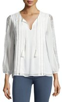 Joie Opala Lace-Sleeve Silk Peasant Top, White