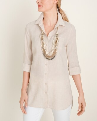 No Iron Linen High-Low Shirttail-Hem Tunic