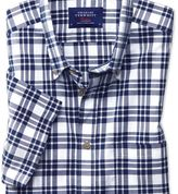 Charles Tyrwhitt Slim fit button-down poplin short sleeve navy blue check shirt