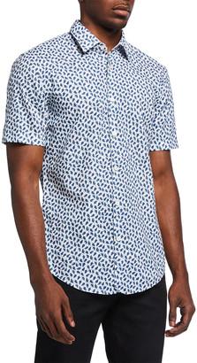 HUGO BOSS Men's Leaf-Print Cotton-Linen Sport Shirt