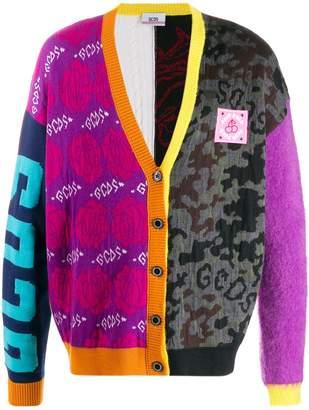 GCDS patterned block V-neck cardigan