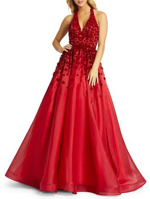 Mac Duggal Velvet Floral Applique Backless Halter Gown