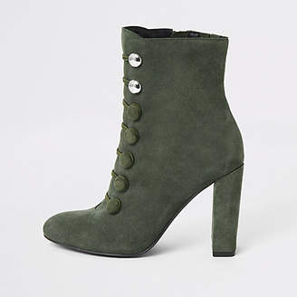 River Island Green suede button heeled ankle boot