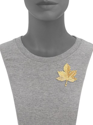 Kenneth Jay Lane Pave Crystal Maple Leaf Pin