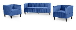 Christopher Knight Home Weymouth Contemporary Channel Stitch Velvet Sofa and Club Chair Set
