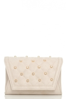 Quiz Nude Quilted Studded Messenger Bag