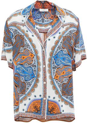Sandro Joya Crochet-trimmed Printed Crepe De Chine Shirt