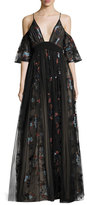 Elizabeth and James Sequoia Floral-Embroidered Cold-Shoulder Tulle Gown