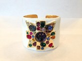 The Well Appointed House Kenneth Jay Lane White Enamel Sapphire Center Maltese Cross Cuff - IN STOCK IN OUR GREENWICH STORE FOR QUICK SHIPPING