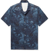Officine Generale Dario Slim-fit Camp-collar Printed Cotton-voile Shirt - Navy