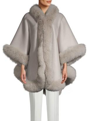 Wolfie Fur Made For Generation Fox Fur-Trim Cashmere & Wool Blend Cape