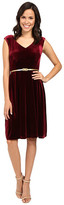 London Times Cap Sleeve V-Neck Velvet Full Skirt