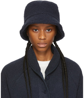 YMC Navy Sherpa Fleece Bucket Hat