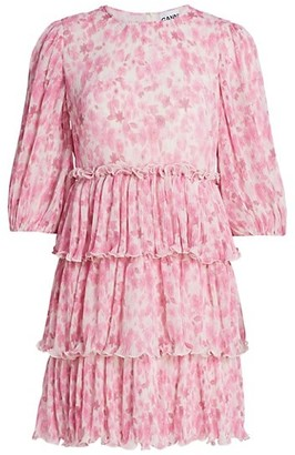 Ganni Pleated Georgette Tiered Dress